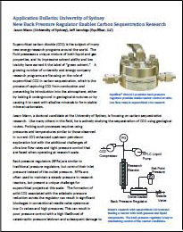 New pressure regulator for carbon sequestration research, white paper
